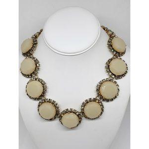 J. Crew Bold Cream & Crystal Medallion Necklace
